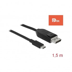 Delock Kabel USB Type-C Displayport Stecker 8K 1,5m schwarz