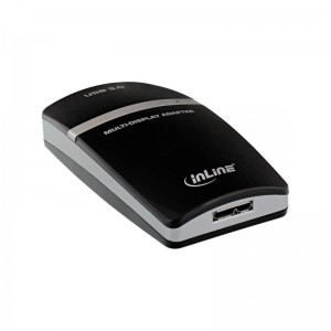 InLine® USB Grafikkarte, USB 3.0 zu HDMI, mit HDMI zu DVI Adapter, max 2048x1152