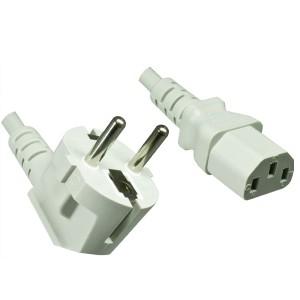4uConnect Netzkabel Kaltgerätestecker 90 Grad gewinkelt 1,8m (Stromkabel für PC, Monitor, Drucker, PS3, ) Kaltgerätekabel mit 3-poliger Kupplung C13 grau  (18090)