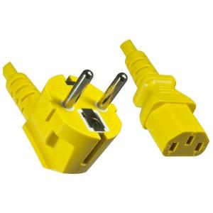 4uConnect Netzkabel Kaltgerätestecker 90 Grad gewinkelt 1,8m (Stromkabel für PC, Monitor, Drucker, PS3, ) Kaltgerätekabel mit 3-poliger Kupplung C13 gelb  (42252)