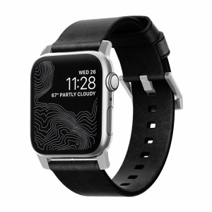 Nomad Strap Modern Leather Black Connector Silver 42/44 mm
