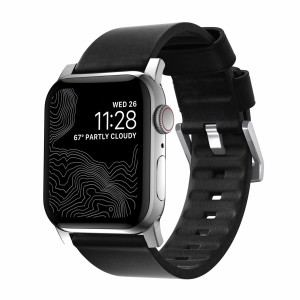 Nomad Modern Strap Active Leather Black Connector Silver