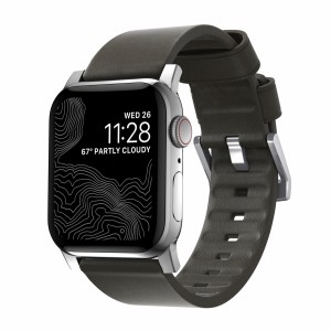 Nomad Modern Strap Active Leather Mocha Connector Silver