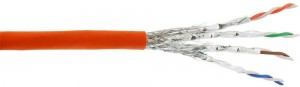 InLine® Verlegekabel Cat.7a, S/FTP (PiMF) 4x2x0,58 AWG23, 1200MHz, halogenfrei, orange, 100m