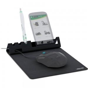 InLine® Multifunktions-Mauspad mit Smartphone- und Stiftehalter, schwarz, faltbar