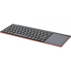 InLine® Wireless Aluminium Slim-Tastatur mit Touchpad, 2,4GHz, schwarz/rot