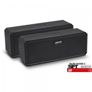 InLine® WOOME 2 - True Wireless Stereo Bluetooth Lautsprecher, Doppelpack schwarz