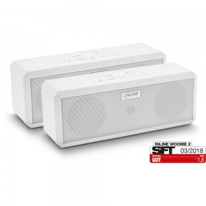 InLine® WOOME 2 - True Wireless Stereo Bluetooth Lautsprecher, Doppelpack weiß