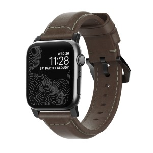 Nomad Traditional Strap Leather Brown Connector Black 40/38 mm