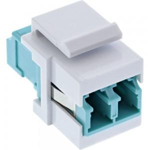InLine® LWL Keystone Snap-in Kupplung weiß, Duplex LC/LC, multimode, türkis, Keramik-Hülse
