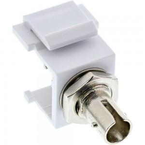 InLine® LWL Keystone Snap-in Kupplung weiß, Simplex ST/ST, multimode, Keramik-Hülse
