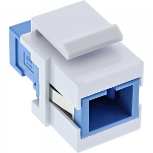 InLine® LWL Keystone Snap-in Kupplung weiß, Simplex SC/SC, singlemode, blau, Keramik-Hülse