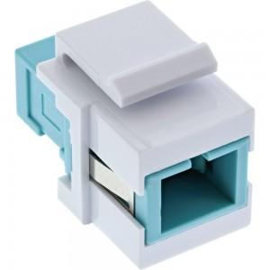 InLine® LWL Keystone Snap-in Kupplung weiß, Simplex SC/SC, multimode, türkis, Keramik-Hülse
