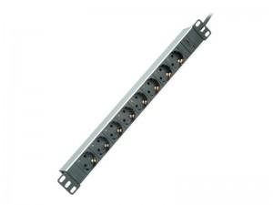 ROLINE 48.26cm 19 Zoll-Steckdosenleiste 8fach plus C14-Stecker Aluminium 2.0 m