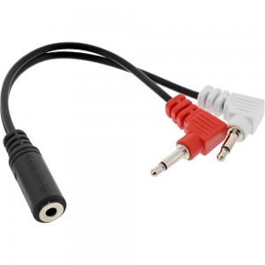 InLine® Audio Kopfhörer Flugzeug-Adapterkabel, 2x 3,5mm Klinke Stecker an 3,5mm Klinke Buchse 3pol., 0,15m