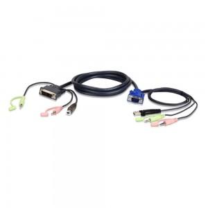 ATEN 2L-7DX3U KVM Kabelsatz, VGA auf DVI-A, USB, Audio, Länge 3m