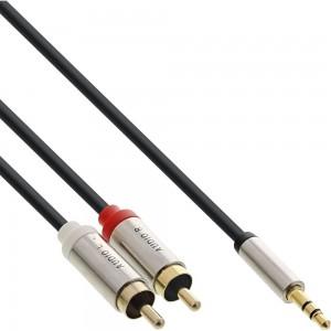 InLine® Slim Audio Kabel Klinke 3,5mm ST an 2x Cinch ST, 1m