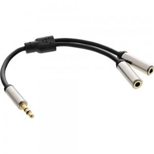 InLine® Slim Audio Y-Kabel Klinke 3,5mm ST an 2x Klinke BU, 0,15m