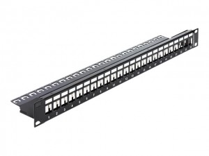 "Delock 19"" Keystone Patchpanel 24 Port schwarz"