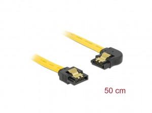 Delock SATA 6 Gb/s Kabel gerade auf links gewinkelt 50 cm gelb