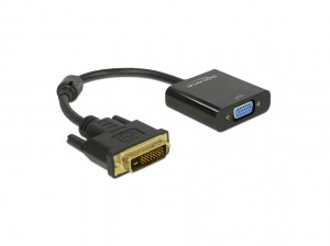 Delock Adapter DVI-D 24+1 Stecker > VGA Buchse schwarz