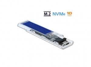 Delock Externes Gehäuse für M.2 NVMe PCIe SSD mit USB-C, transparent