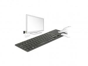 Delock Funktastatur für Smart TV und Windows PCs mit Touchpad 6 mm flach