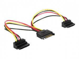 Delock Kabel Power SATA 15 Pin > 2 x SATA HDD mit Metallclip