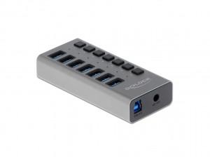 Delock USB 3.0 Hub mit 7 Ports, einzeln schaltbar
