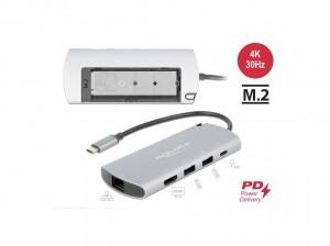 Delock USB Type-C™ Dockingstation mit M.2 Slot - 4K HDMI / USB / LAN / PD 3.0