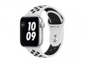 AppleWatch SE Nike Aluminium 40mm Silber (Sportarmband pure platinum/schwarz)