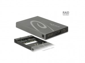 Delock Externes Gehäuse 2 x mSATA SSD > USB 3.1 Gen 2 USB Type-C™ Buchse mit RAID