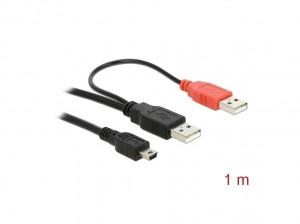 Delock Kabel 2x USB2.0-A Stecker > USB mini 5-pol