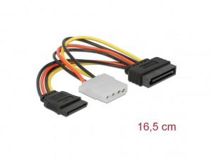 Delock Kabel Power SATA 15 pin Stecker > Molex 4 pin Buchse + SATA 15 pin Buchse