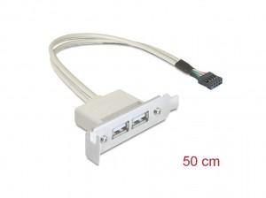 Delock Slotblech USB 2.0 Low Profile 2 Port