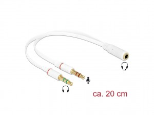 Delock Headset Adapter 1 x 3,5 mm 4 Pin Klinkenbuchse > 2 x 3,5 mm 3 Pin Klinkenstecker (iPhone)