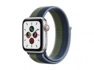 AppleWatch SE Aluminium 40mm Cellular Silber (Sport Loop abyssblau/moosgr