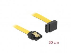 Delock SATA 6 Gb/s Kabel gerade auf oben gewinkelt 30 cm gelb