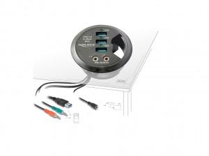 Delock Tisch-Hub 3 Port USB 3.0 + HD-Audio Ports