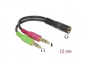 Delock Headset Adapter 1 x 3,5 mm 4 Pin Klinkenbuchse > 2 x 3,5 mm 3 Pin Klinkenstecker (CTIA Pinbelegung)