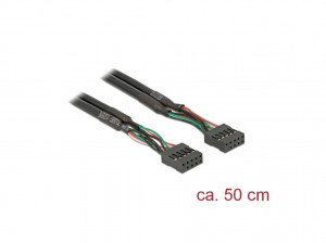 Delock Kabel USB 2.0 Pfostenbuchse 2,54 mm 10 Pin > USB 2.0 Pfostenbuchse 2,54 mm 10 Pin 50 cm