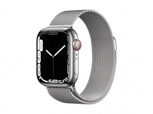 AppleWatch S7 Edelstahl 41mm Cellular Silber (Milanaise silber)