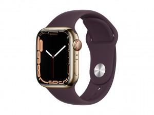 AppleWatch S7 Edelstahl 41mm Cellular Gold (Sportarmband dunkelkirsch)