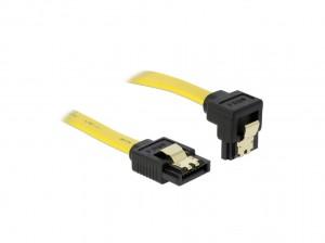 Delock SATA 3 Gb/s Kabel gerade auf unten gewinkelt 70 cm gelb
