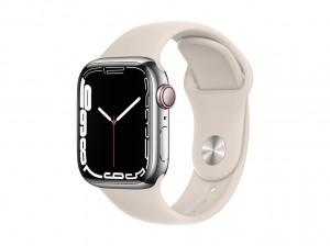 AppleWatch S7 Edelstahl 41mm Cellular Silber (Sportarmband sternenlicht)