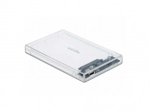 """Delock USB-C, SATA int. Gehäuse 6,35cm(2,5""""), transparent, werkzeugfrei"""