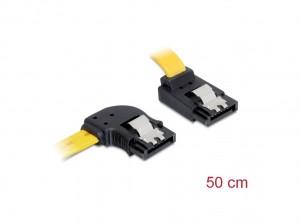 Delock SATA 6 Gb/s Kabel links gewinkelt auf oben gewinkelt 50 cm gelb