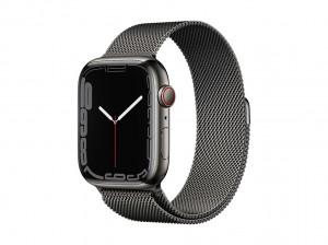 AppleWatch S7 Edelstahl 45mm Cellular Graphite (Milanaise graphite)