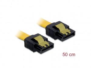 Delock SATA Kabel 50cm gerade/gerade Metall gelb