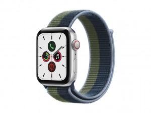 AppleWatch SE Aluminium 44mm Cellular Silber (Sport Loop abyssblau/moosgr